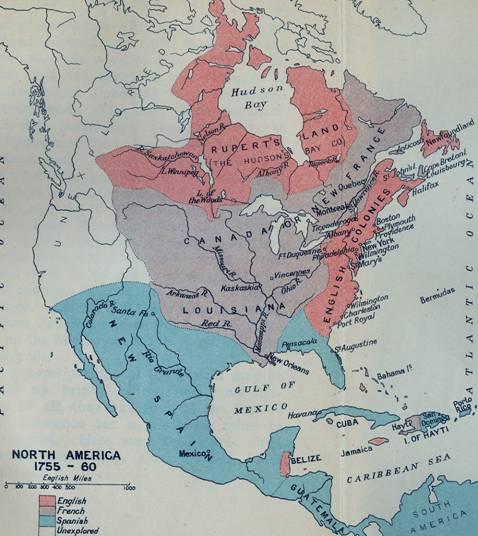 Karte: Britischer und französischer Besitz in Nordamerika vor dem French and Indian War